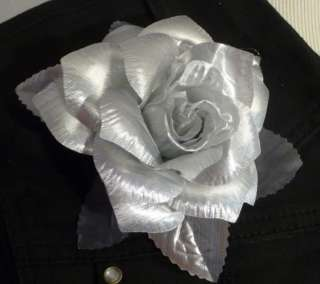 Rose Flower Hair Clip Brooch Lapel Pin Metallic Silver