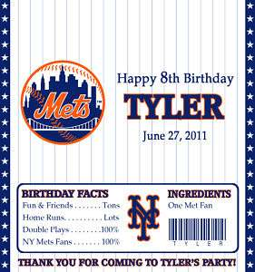 NY METS CANDY WRAPPERS / BIRTHDAY PARTY FAVORS