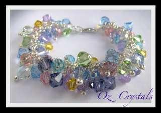 OOAK Heavily Beaded Charm Bracelet w Swarovski Crystals & Sterling