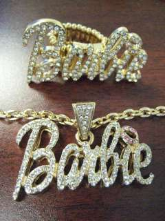NICKI MINAJ BARBIE PENDANT NECKLACE & RING GOLD PINK