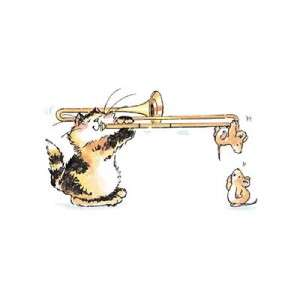 Penny Black Rubber Stamp Music Trombone Cat Cute