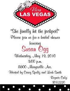 Las Vegas Bridal Shower Party Wedding Invitations
