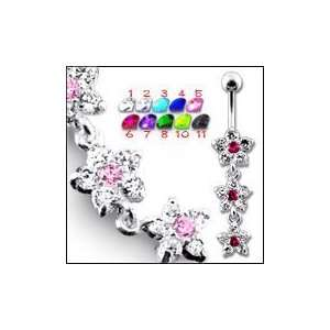 Dangling Crystal Flowers Belly Ring Body Jewelry Jewelry