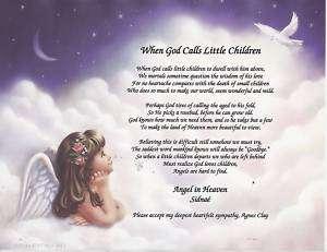 When God Calls Little Children Memory Poem Personalized