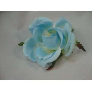 Small Baby Blue Rose Bud Hair Flower Clip  30% off