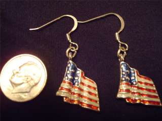 American Flag Eagle Uncle Sam Hat Earrings Pick Style Clip Pierced