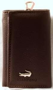 Mens BROWN Leather KEY HOLDER WALLET w/Zip Pocket in CASH SLOT
