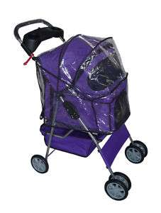 Purple 4 Wheels Pet Dog Cat Stroller w/Rain Cover 814836010818