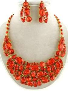 Chunky Gold Tone Red Rhinestone Jeweled Bib Statement Necklace and