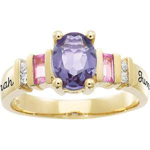 Personalized Keepsake Gracious Oval Gemstone Ring, Custom Gemstone