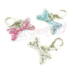 Pet Charms   Dog Charms   collar charms   pink crystal bones pet charm