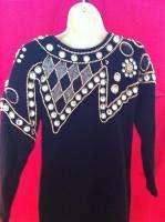 LAUREN ALEXANDRA Black FUZZY BEADED ANGORA Sz S P Womens Sweater Dress