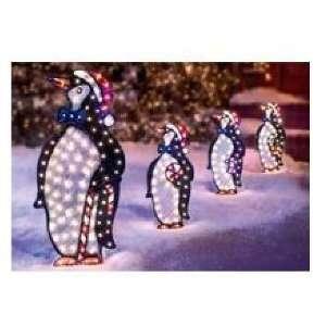 PENGUIN FAMILY SET CHRISTMAS YARD DECORATION