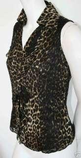 DANA BUCHMAN Black Brown Silk Leopard Blouse NEW sz 6P