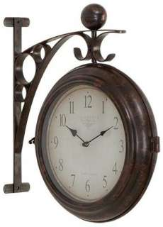 Round Metal Wall Double Sided Clock, Two Face Train Station Antique