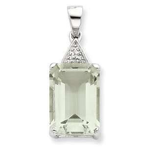 Emerald cut Green Amethyst & Diamond Pendant Vishal Jewelry Jewelry