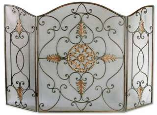 French Scroll Antique Gold 3 Panel Fireplace Screen