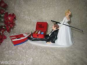 FISHING BOAT FUNNY HUMOROUS BRIDAL WEDDING CAKE TOPPER