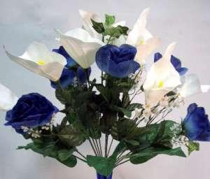 Cream Blue LILY FLOWER ARRANGEMENT Silk Bouquet