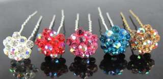 5pcs Wedding Bridal Crystal Flower Hair Pins Clips 68mm