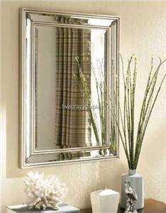 Dazzling Silver Leaf FRAMELESS Wall Mirror Extra Large Vanity Mantle