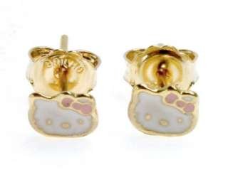 Gold 18k GF Pink Enamel Little Hello Kitty Earrings Girl Baby Kids 4mm