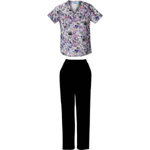 stroke Print Mock wrap Top and Black Pull On Scrub Pant Home Medical