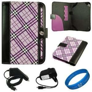 Purple Plaid Executive Leather Folio Case Cover for  Kindle Fire