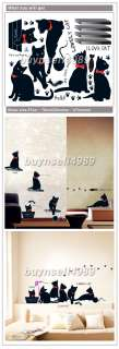 LOVELY BLACK CAT WALL ROOM DOOR DECASL STICKERS KR0015