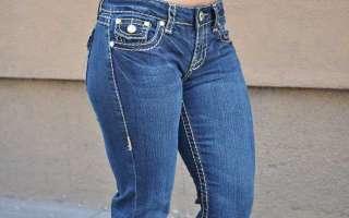 LA Idol jeans SZ 1 13 DARK BLUE brown stitching BOOTCUT FAST SHIPPING