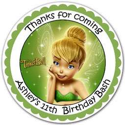 12 TINKERBELL Label Stickers Birthday Party Favor Gift