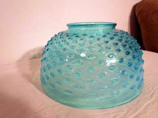Victorian Antique Blue Hobnail 10 Inch Art Glass Lamp Shade