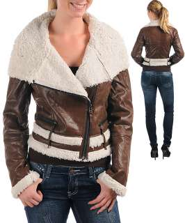 WOMANS PLUS SIZE FLIRTY LEATHER LOOK BROWN WITH FAUX FUR JACKET 2XL 18