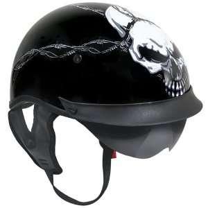 Outlaw T 72 Dual Visor Half Helmet   Evil Barbed Wire