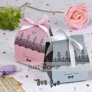 50 Pair Love Wedding Party Favors Decoration Paper Ribbon Candy Boxes