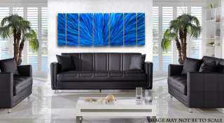 Modern Metal Abstract Wall Art Painting Sculpture Decor Ocean Blue