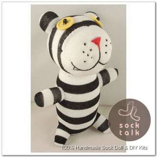 Black Striped Sock Monkey Bear Stuffed Animals Doll Baby Toy