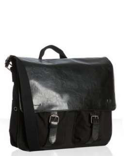Ben Sherman black canvas Hunt laptop messenger bag   up to