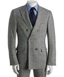 Brunello Cucinelli  grey houndstooth plaid double breasted suit with