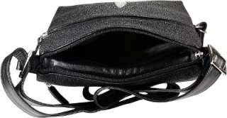 GENUINE STINGRAY LEATHER MESSENGER BAG BLACK STH431