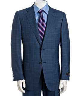 Zegna  dark blue windowpane wool silk 2 button Fit Rom suit with