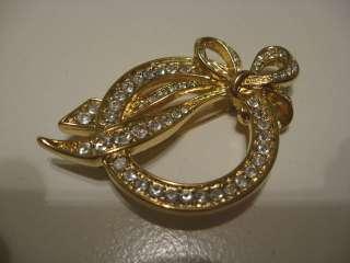 Nolan Miller Crystal Rhinestone Ribbon Brooch Pin in box