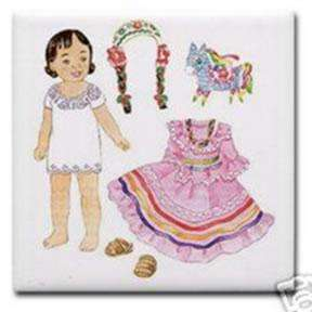 Mexican girl paper doll, with folkloric dress and pinata. For paper