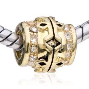 Pandora Style Bead Gold Crystal European Charm Bead Clear Fits Pandora