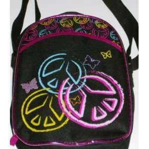 Totally Girl Peace Signs Butterflys Lunch Box Soft Insulated Lunch Bag