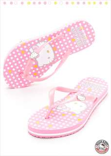 Sanrio Hello Kitty Ladys Beach Slippers Flip Flops Red, Pink, Black