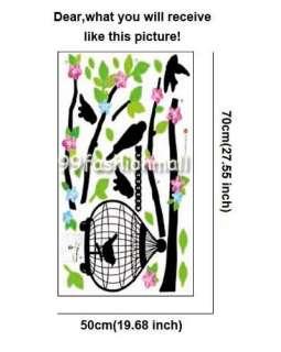 Tree Bird Cage Art Mural Wall Vinyl Sticker Decal Home Decor