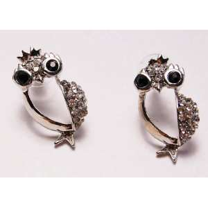 King Bird Owl Crown Clear Crystal Rhinestone Stud Earrings Jewelry